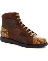 Leonardo Shoes Herrenstiefel 9216/19 PITONE ROCCIA-CARIOCA CORDA - Braun