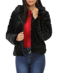La Modeuse Manteau Manteau court noir à fausse fourrure et capuche