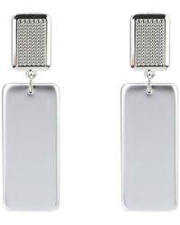 La Modeuse - Boucles oreilles Boucles d'oreilles argentées pendantes rectangulaires - Lyst