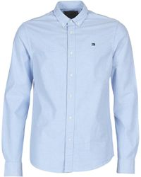 Scotch & Soda Overhemd Lange Mouw Nos Oxford Shirt Regular Fit Button Down Collar - Blauw