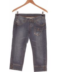 Mango Pantacourt Femme 34 - T0 - Xs Pantalon - Bleu