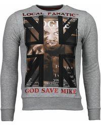 Local Fanatic Sweater Mike Tyson - Rhinestone Sweater - Grijs