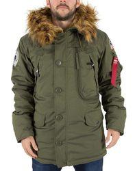 Alpha Industries - Men's Fur Hooded Polar Jacket, Green Men's Parka In Green - Lyst