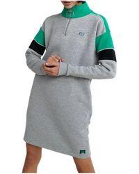 Superdry PANEL ZIP SWEAT DRESS Robe - Gris