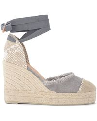Castañer Sandal with Catalina wedge in canvas Gris
