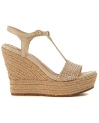 525bc0025375 UGG - Fitchie Golden Leather Wedge Sandal Women s Sandals In Gold - Lyst