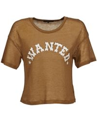 American Retro - Fred Cropped Women's T Shirt In Brown - Lyst