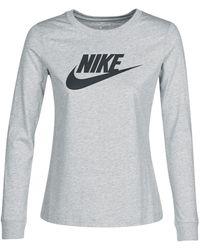 Nike T-Shirt Essential Futura Manches Longues - Gris