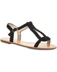La Modeuse Sandales Sandales en simili daim noir à brides tressées