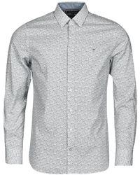 Tommy Hilfiger Camicia A Maniche Lunghe Flex Floral Print Slim Shirt - Bianco