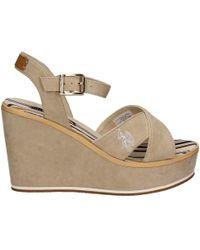 U.S. POLO ASSN. - U.s. Polo Assn. Esty4034s7/h1 Wedge Sandals Women Beige Women's Sandals In Beige - Lyst