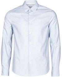 Calvin Klein Overhemd Lange Mouw Non Washed Dot Dobby Shirt - Blauw