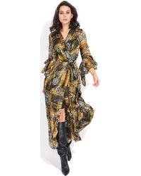 Yours Paris - Printed Long Dress Women's Long Dress In Black - Lyst