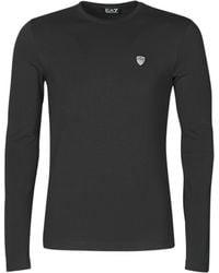 EA7 T-shirt Lange Mouw Train Core Shield - Zwart