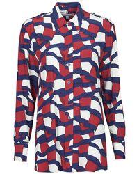Tommy Hilfiger Overhemd Viscose Printed Blouse Ls - Blauw