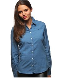 L'affaire De Rufus - Organic Cotton Long Sleeve Button-down Shirt Lelegante Blue Wom Women's Shirt In Blue - Lyst