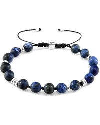 Anchor & Crew Agaya Silver and Stone Beaded Macrame Bracelet Bracelets - Bleu