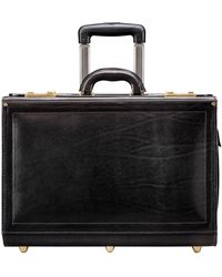 Maxwell Scott Bags Luxury Black Leather Briefcase On Wheels For Men