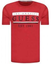 Guess T Shirt Stripes rouge M91I55 T-shirt
