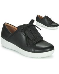 Fitflop F-SPORTY II LACE UP FRINGE SNEAKERS - LEATHER - Negro