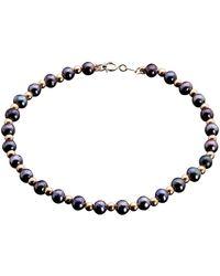 Cleor Bracelets Bracelet en Or 375/1000 Jaune et Perle Violet Femme - Multicolore
