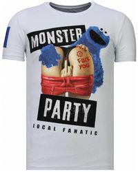Local Fanatic T-shirt Korte Mouw Monster Party Rhinestone - Wit