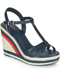 Tommy Hilfiger Sandalen Tommy Strappy High Wedge - Blauw