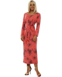 A Postcard From Brighton Margie Coral Floral Print Knot Front Dress Long Dress - Red