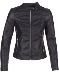 Vila - Viaya Women's Leather Jacket In Black - Lyst