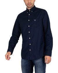 GANT Chemise La chemise régulière en drap - Bleu