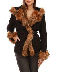 La Modeuse Manteau noir court fourré