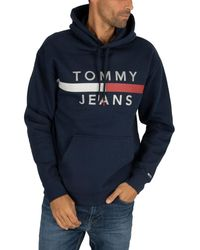 Tommy Hilfiger - Men's Reflective Flag Hoodie, Blue Men's Sweater In Blue - Lyst