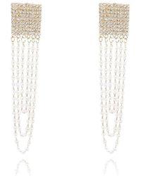 La Modeuse Boucles d'oreilles dorées pendantes à strass et perles Boucles oreilles - Métallisé