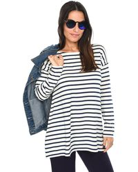 Isabella Oliver - Striped T-shirt Billie Relaxed Maternity Top Navy Blue / White Women's Polo Shirt In Blue - Lyst