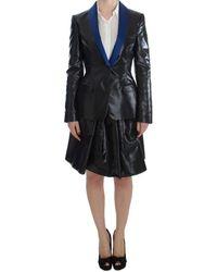 Exte Black Blue Two Piece Suit Skirt Blazer
