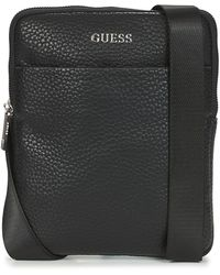 Guess Handtassen Dan Pu Mini Flat Crossbody - Zwart