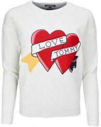Tommy Hilfiger Pull col rond Bibi Heart crème pour femme femmes Pull en blanc