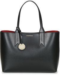 Emporio Armani Bolso shopper grande con detalle de charm - Negro