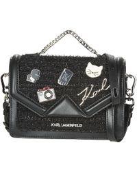 Karl Lagerfeld K/klassic Pins Medium Shouderbag Women's Shoulder Bag In Black