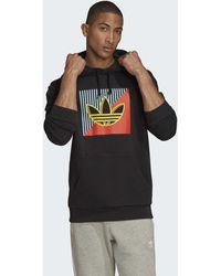 adidas Sweatshirt Diagonal Embroidered Hoodie - Schwarz
