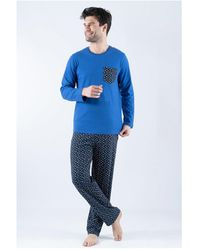 Armor Lux Pyjama micro-motifs - Bleu