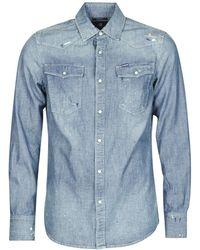 G-Star RAW Camicia A Maniche Lunghe 3301 Slim Shirt L/S - Blu