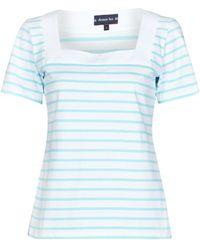 Armor Lux T-Shirt Mariniere Encolure Carree - Bianco