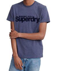 Superdry T-shirt Core Faux Suede - Bleu