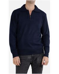 Kebello Pull col camioneur Taille : H Marine M Pull - Bleu
