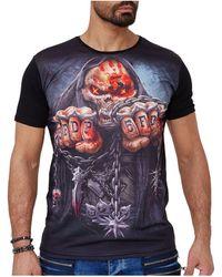Monsieurmode T-shirt tete de mort T-shirt 1601 noir T-shirt