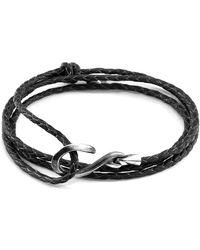 Anchor & Crew Heysham Silver and Braided Leather Bracelet Bracelets - Noir