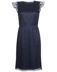 Lauren by Ralph Lauren LACE CAP SLEEVE DRESS - Azul