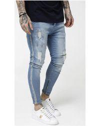 SIKSILK LOW RISE DENIMS hommes Jeans skinny en bleu