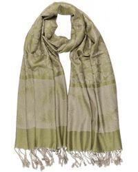 Léon Montane Echarpe Echarpe Pashmina verte et grise avec soie Patna